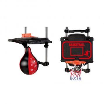 Ophangbaar Boks- En Basketbal Set 2in1 Met Digitaal Scorebord En Geluid