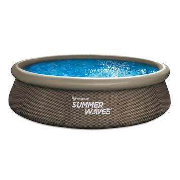 Summer Waves Zwembad Quick Set 366 X 76 cm Dark Double Rattan + filterpomp
