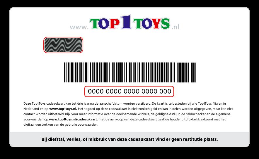 Cadeaukaart Top1Toys - achterkant