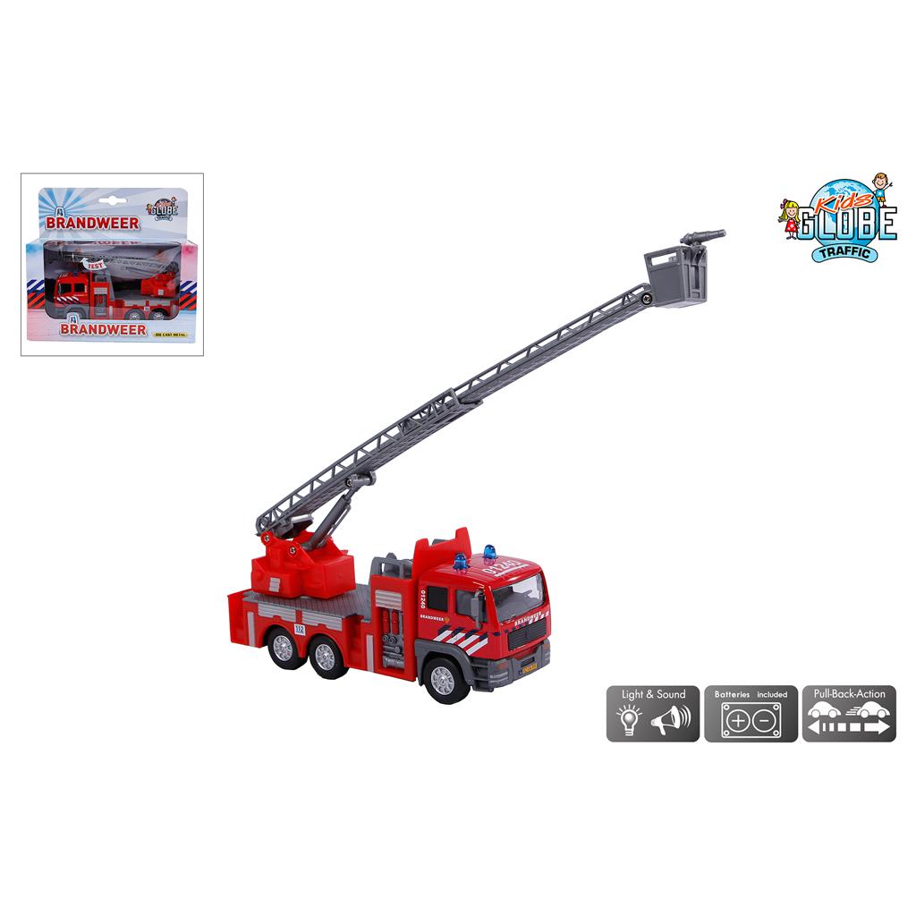 Afbeelding van Auto Die Cast Brandweer Ladderwagen Met Licht En Geluid
