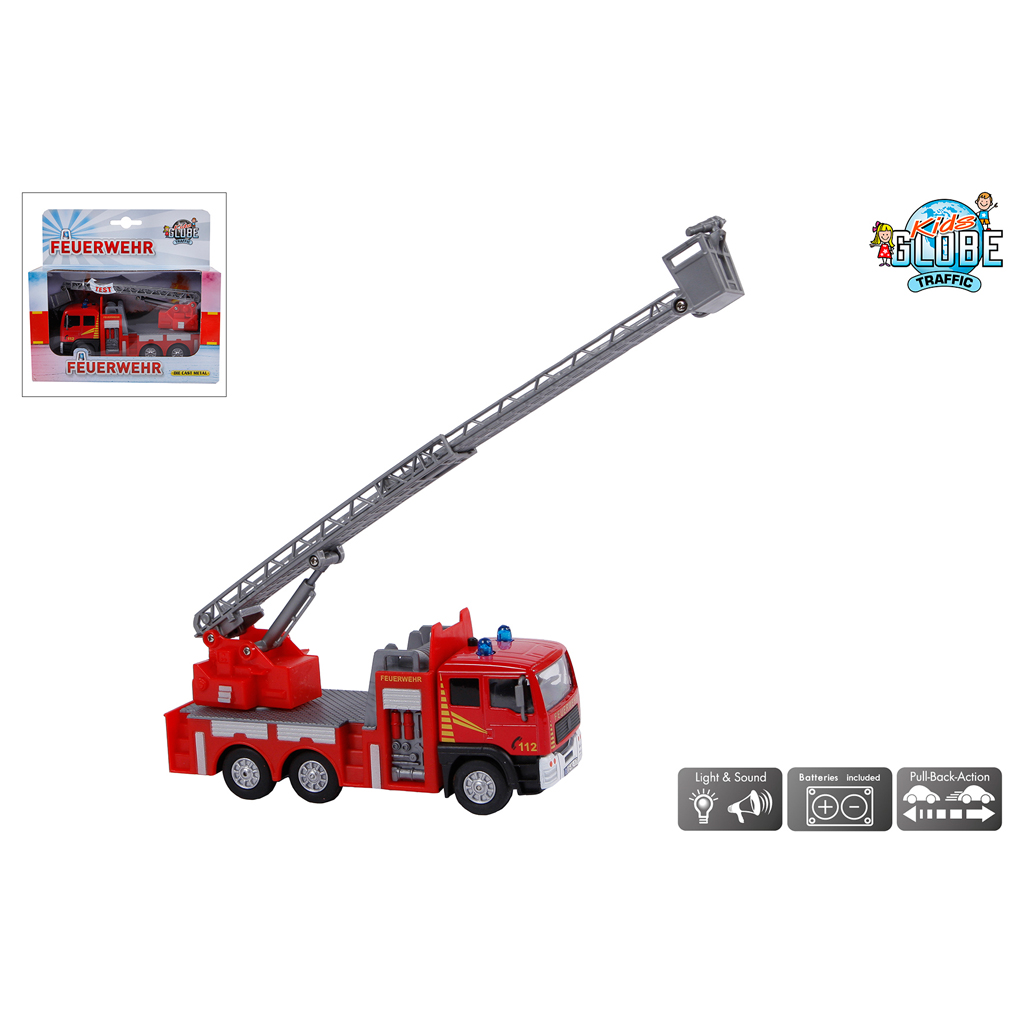 Afbeelding van Auto Die Cast Ladderwagen Feuerwehr Met Licht en Geluid