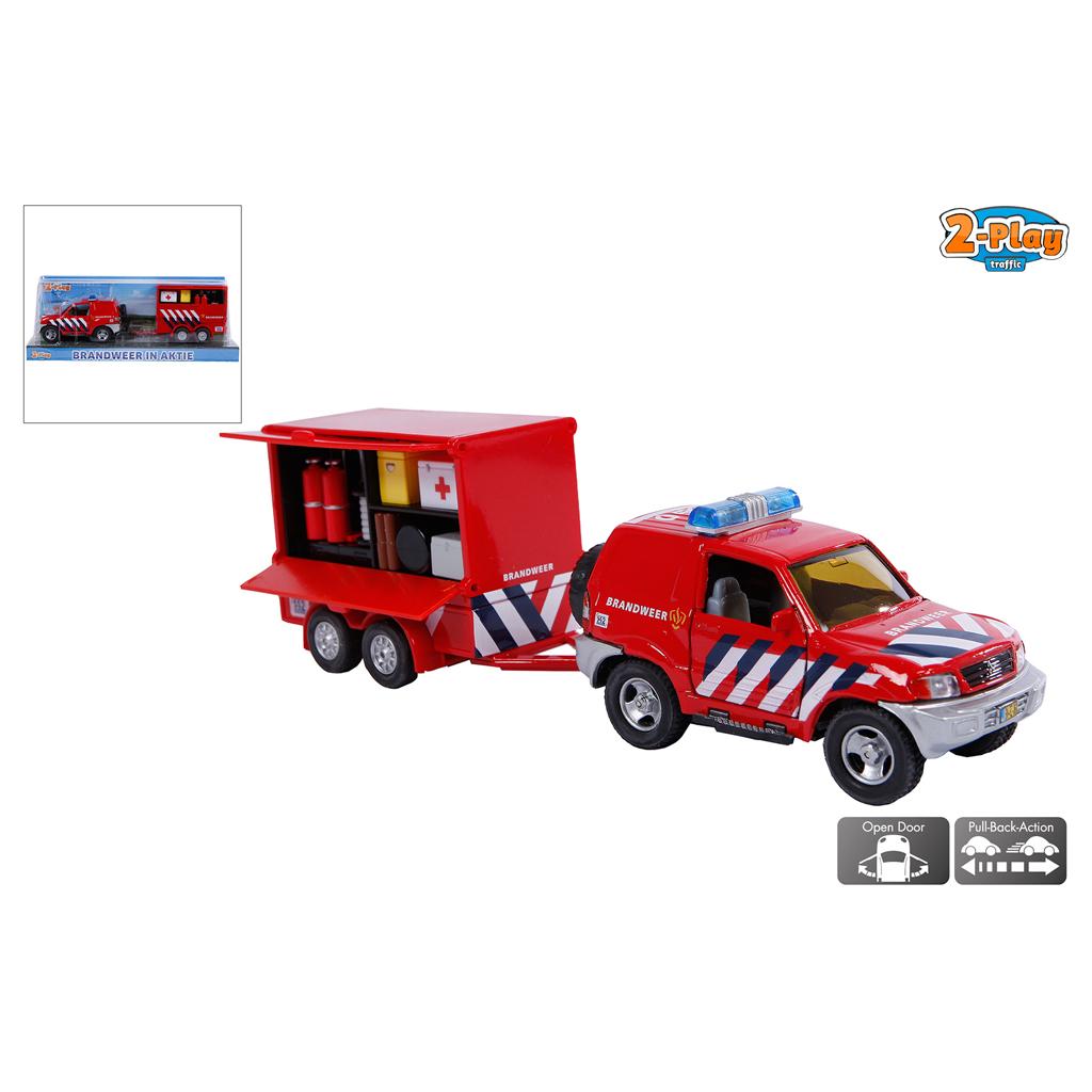 Afbeelding van Auto Brandweer Met Aanhanger
