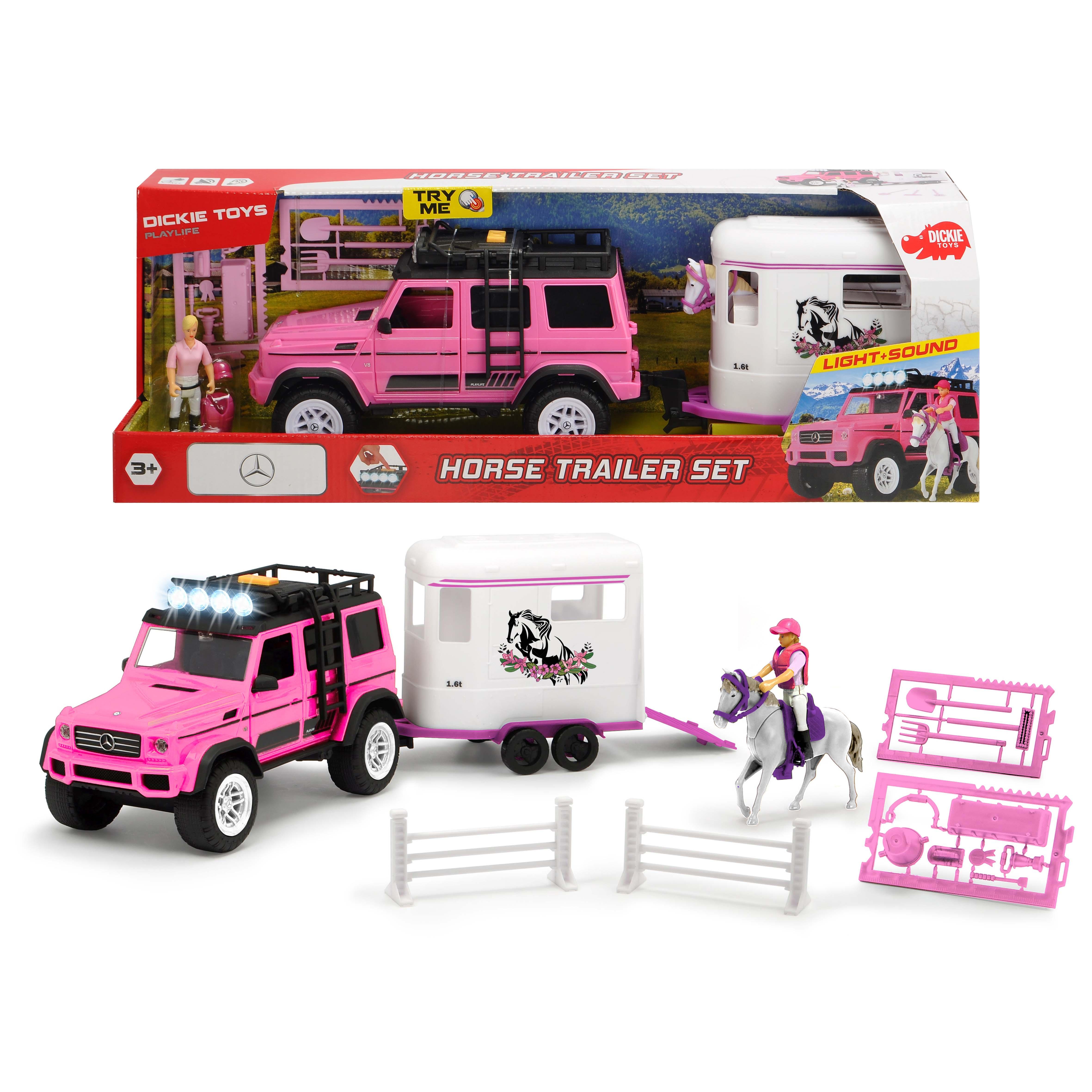 Afbeelding van Auto Met Paardentrailer En Accessoires Roze