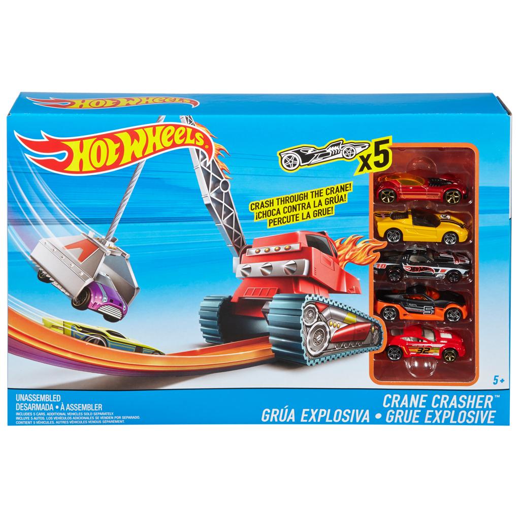 Afbeelding van Hot Wheels Crane Crasher Play Set Met 5 Auto's