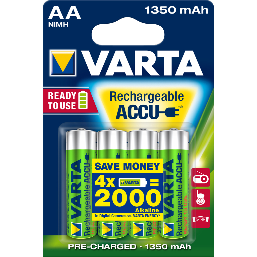Afbeelding van Batterijen Oplaadbaar Varta AA 4 Stuks