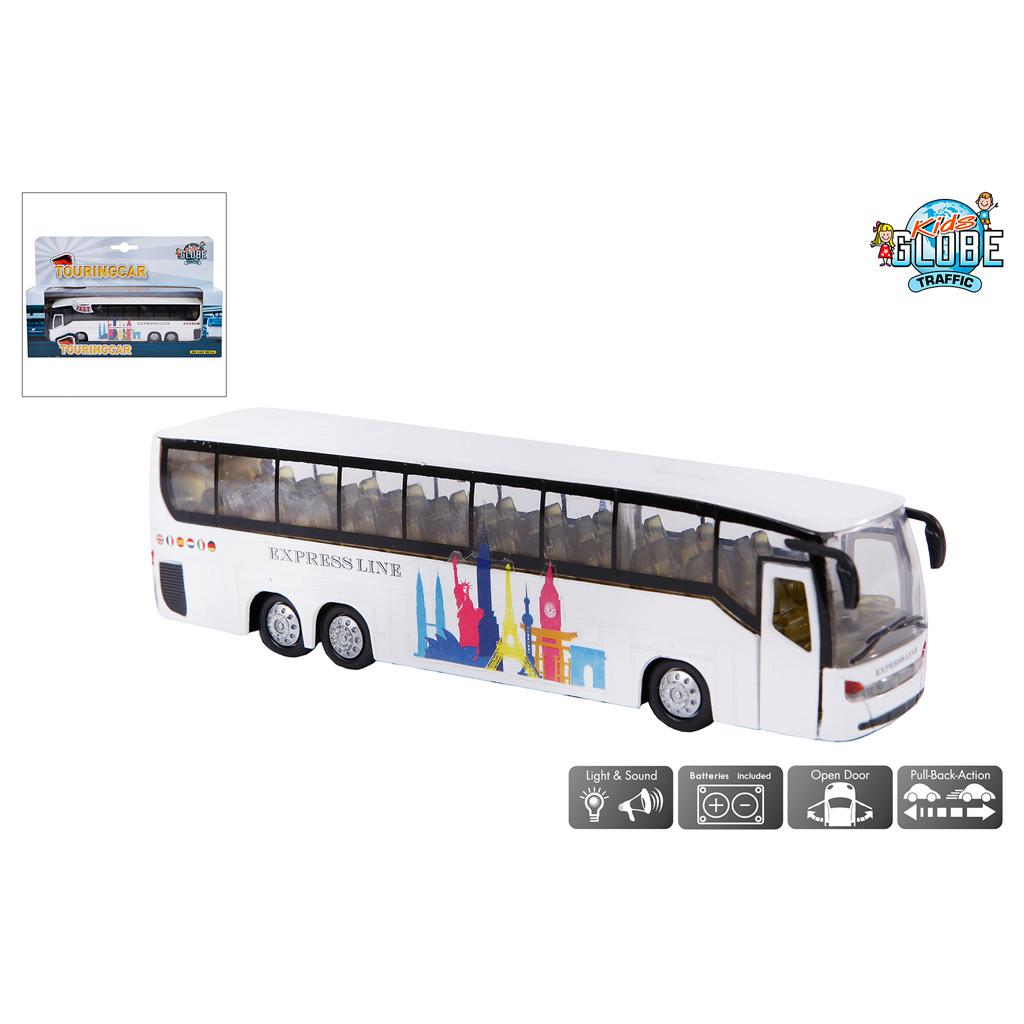 Afbeelding van Bus Kids Globe Met Pull-back Die-cast 19cm Assorti