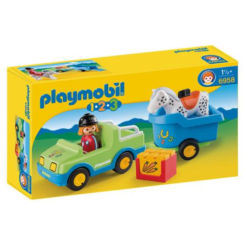 Afbeelding van Playmobil 123 Wagen Met Paardentrailer