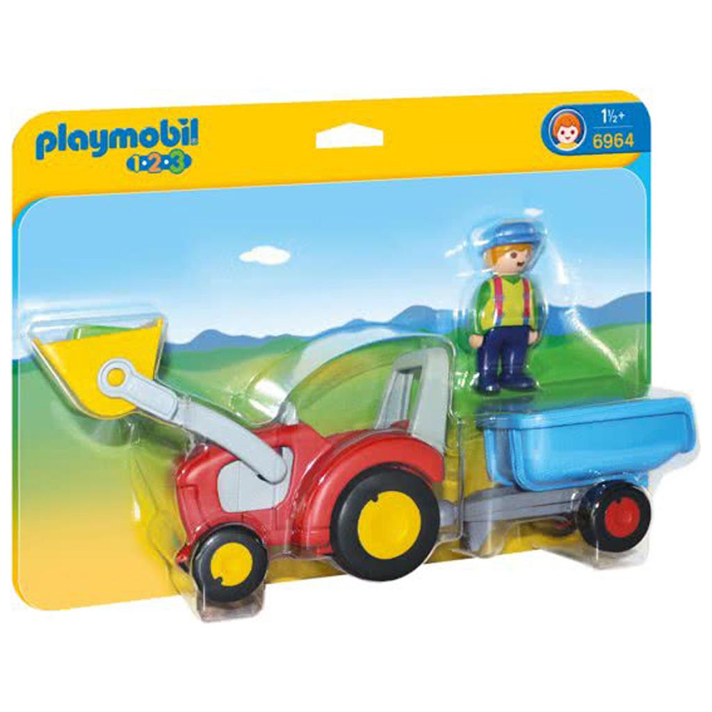 Afbeelding van Playmobil 123 6964 Boer Met Tractor & Aanhangwagen