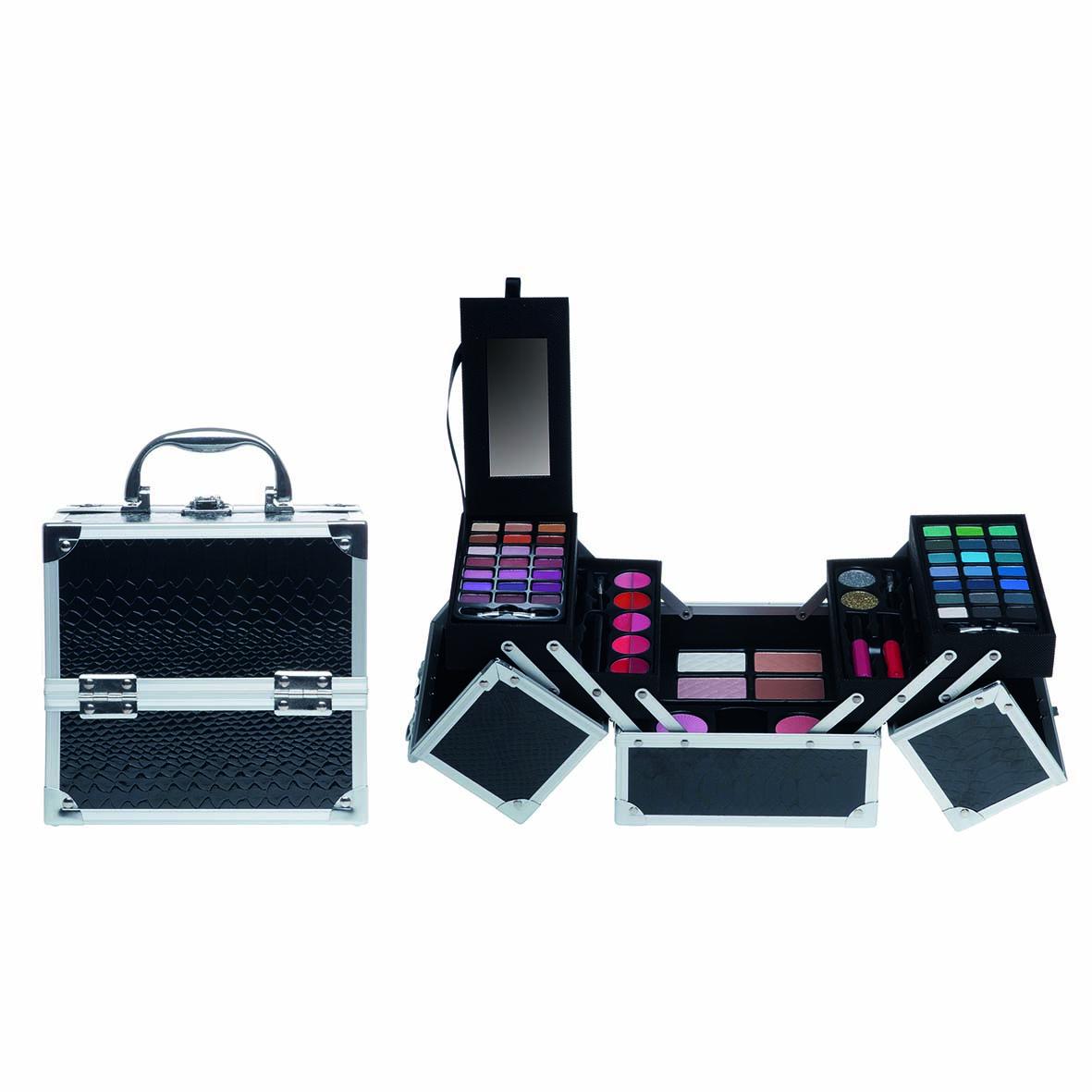 Afbeelding van Casuelle Make-up Koffer Vierkant Zwart Glans Krokodillenprint