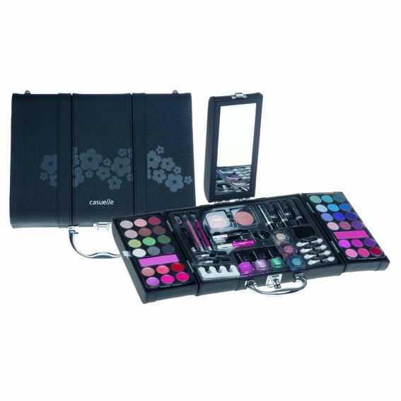Afbeelding van Casuelle Make-up Koffer 3-Luik Zwart Met Bloemen Motief