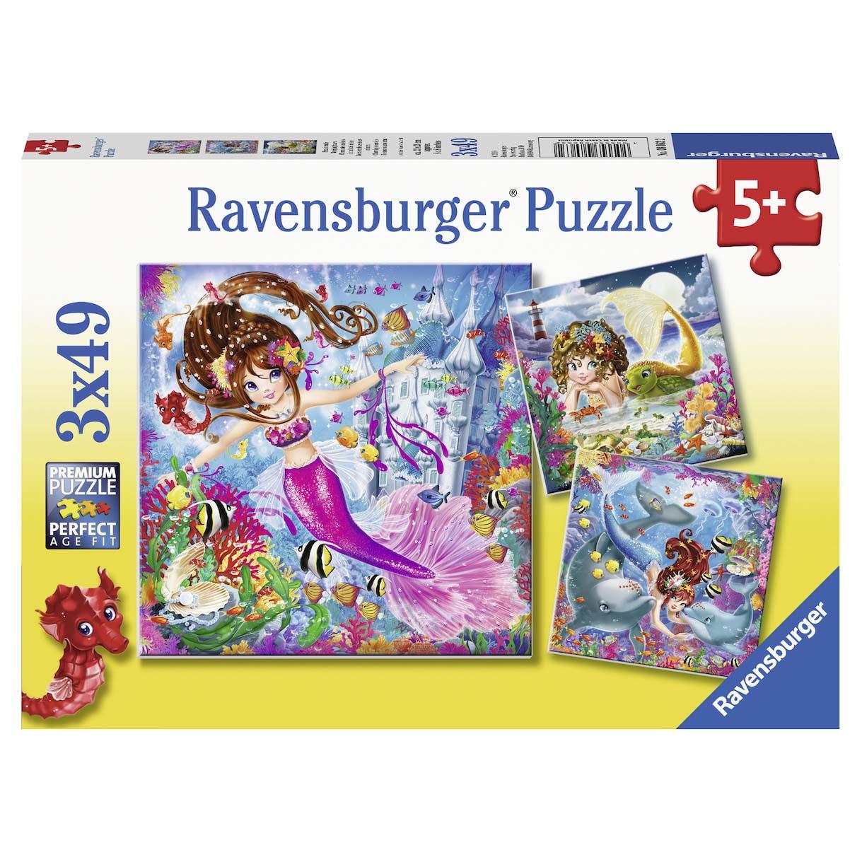 Afbeelding van Puzzel Charming Mermaids 3 x 49 Stukjes