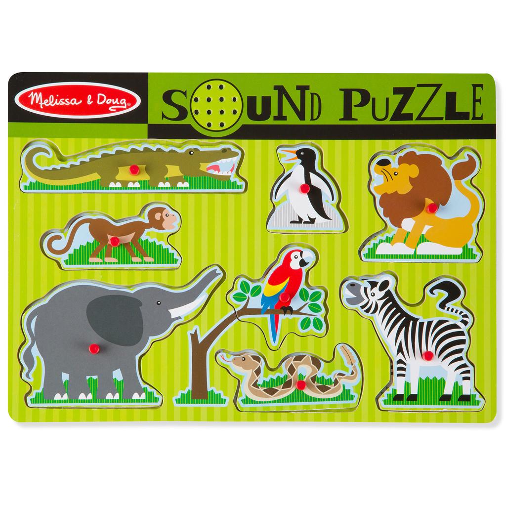 Afbeelding van Puzzel Hout Met Geluid - Dierentuindieren
