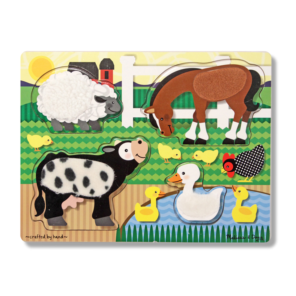 Afbeelding van Houten Aanraak- En Voelpuzzel - Boerderijdieren