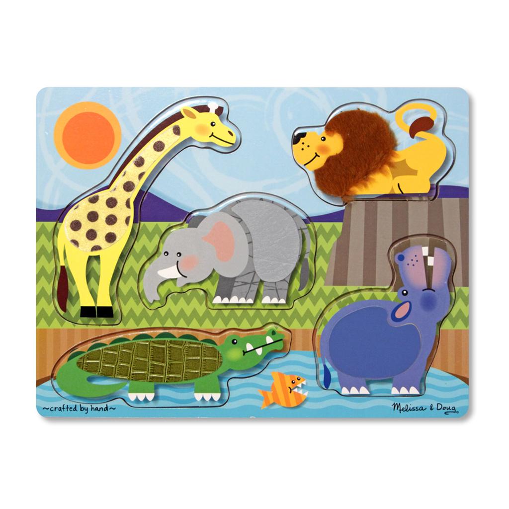 Afbeelding van Houten Aanraak- En Voelpuzzel - Dierentuindieren