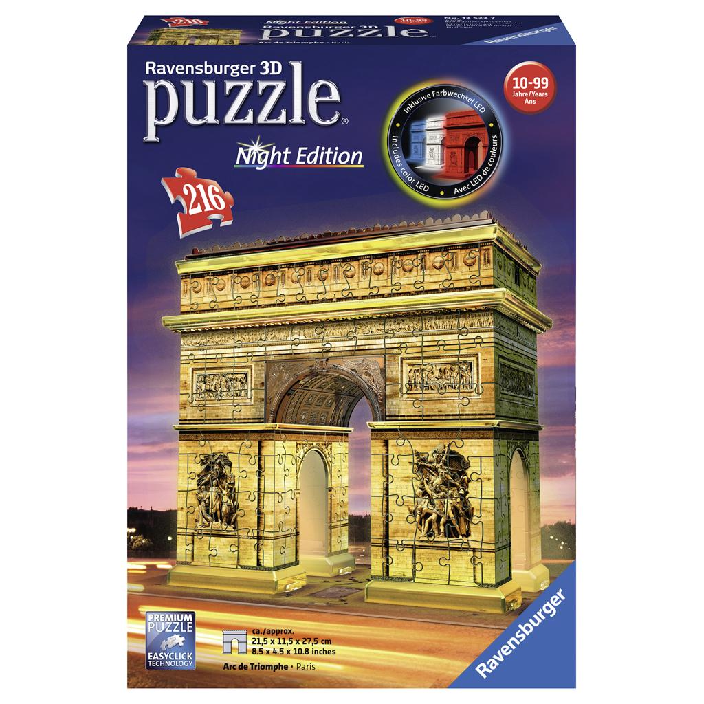 Afbeelding van Puzzel 3D Arc De Triomphe Night Edition