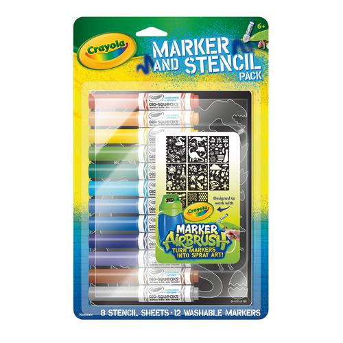 Afbeelding van Crayola Navulling Airbrush Sjablenen Blauw Met 12 Stiften