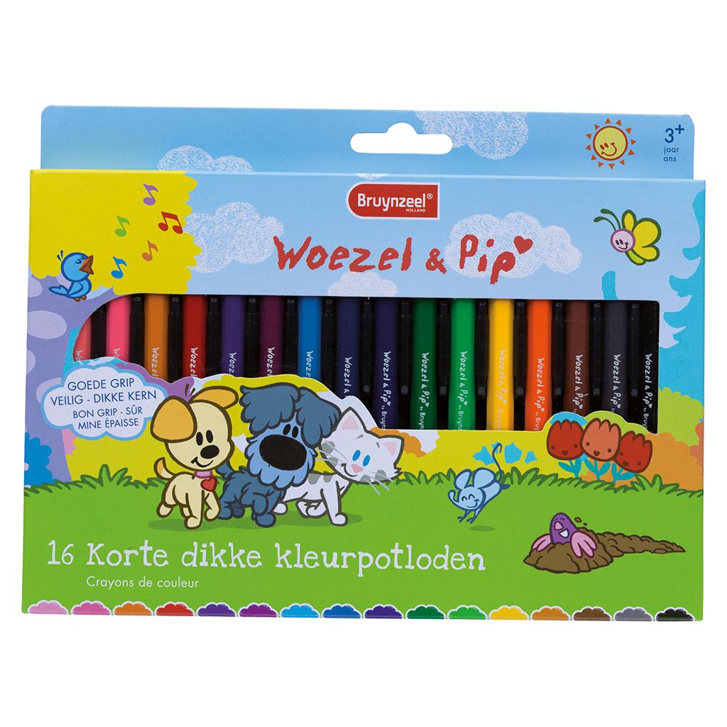 Afbeelding van Dikke Kleurpotloden Woezel & Pip 16 stuks