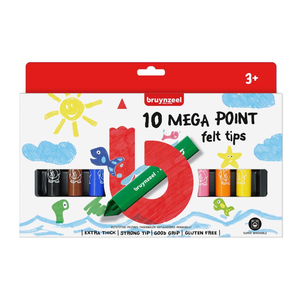 Afbeelding van Big Point Mega Viltstiften Bruynzeel 10 Stuks