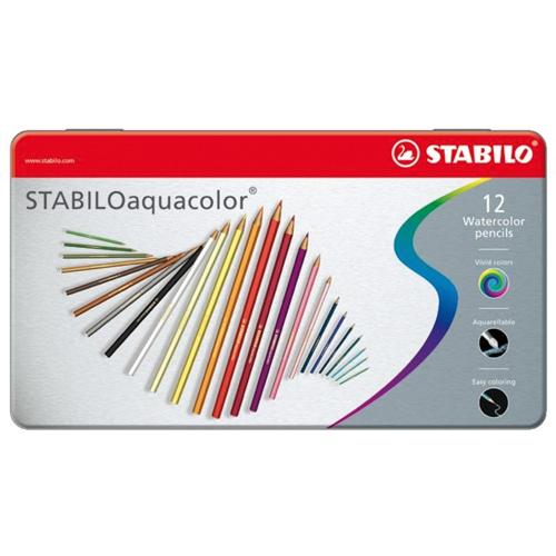 Afbeelding van Kleurpotloden Stabilo Aquacolor Blik 12 Stuks