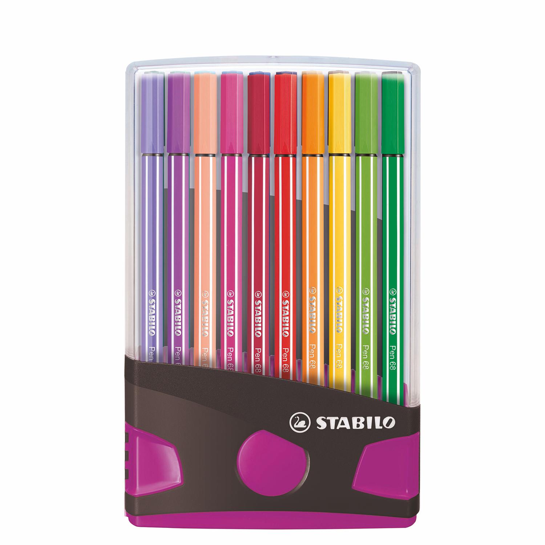 Afbeelding van Stabilo Pen 68 Colorparade Antraciet/Roze 20 Kleuren