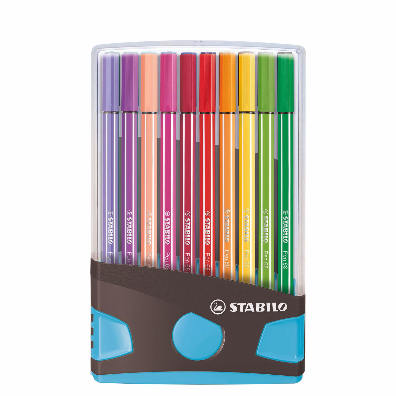 Afbeelding van Stabilo Pen 68 Colorparade Antraciet/Lichtblauw 20 Kleuren