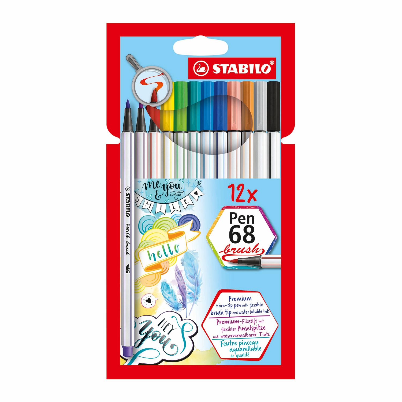 Afbeelding van Stabilo Pen 68 Brush Etui 12 Kleuren