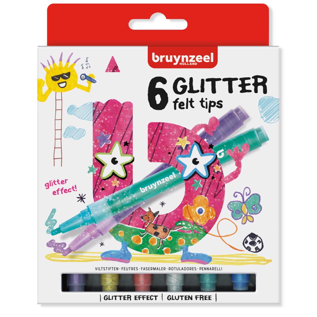 Afbeelding van Glitter Viltstiften Bruynzeel 6 Stuks