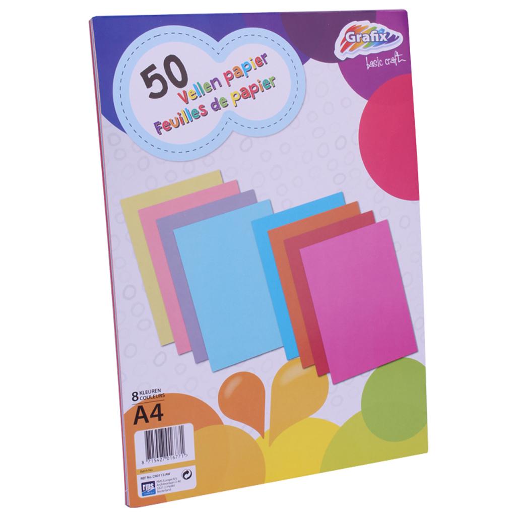 Afbeelding van Gekleurd Papier A4 50 Vellen