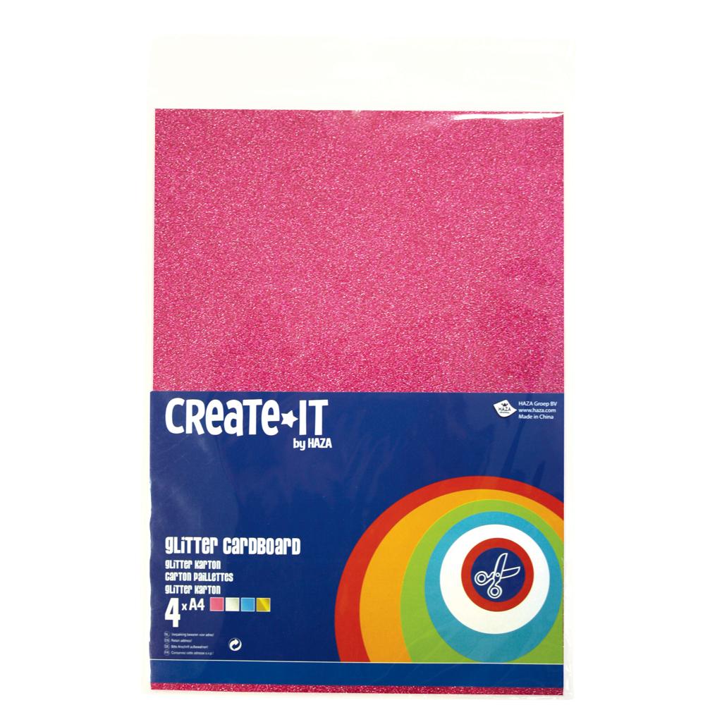 Afbeelding van Create-It Glitterkarton A4 4 Kleuren