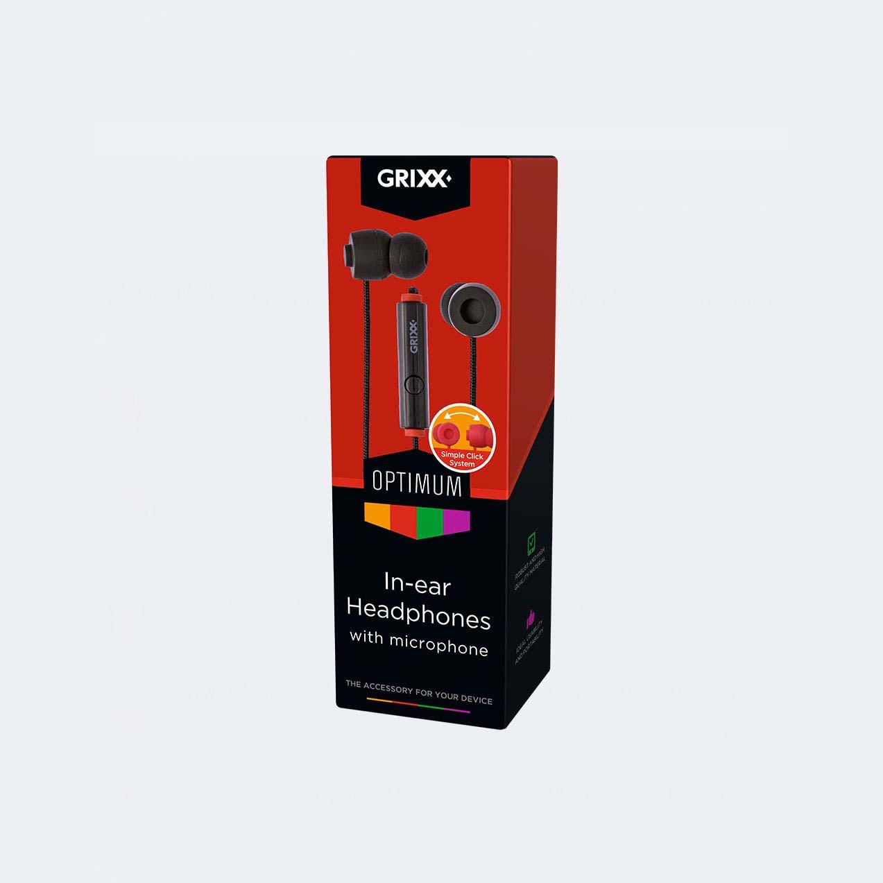 Afbeelding van Grixx In-Ear Hoofdtelefoon Met Microfoon Zwart