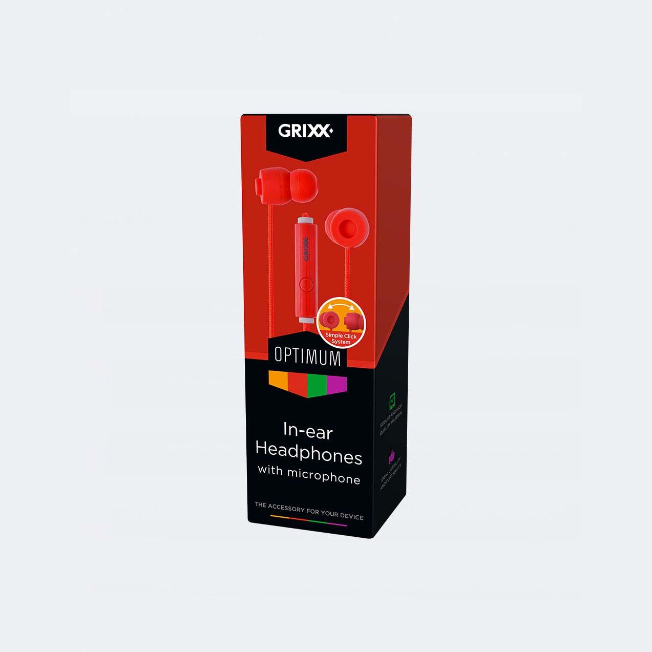 Afbeelding van Grixx In-Ear Hoofdtelefoon Met Microfoon Rood