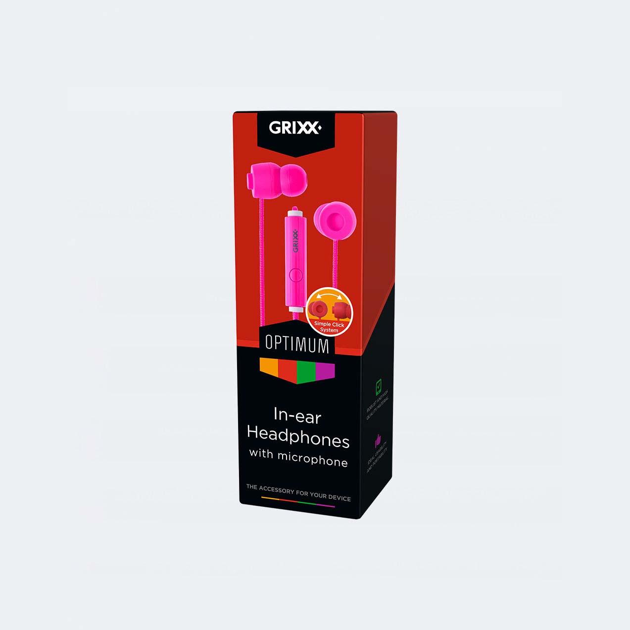 Afbeelding van Grixx In-Ear Hoofdtelefoon Met Microfoon Roze