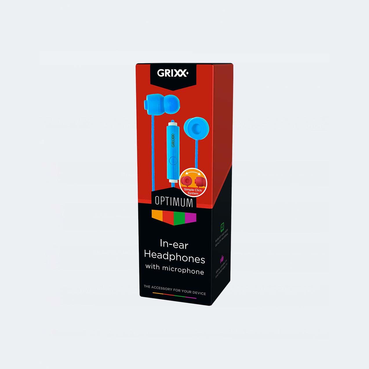 Afbeelding van Grixx In-Ear Hoofdtelefoon Met Microfoon Blauw