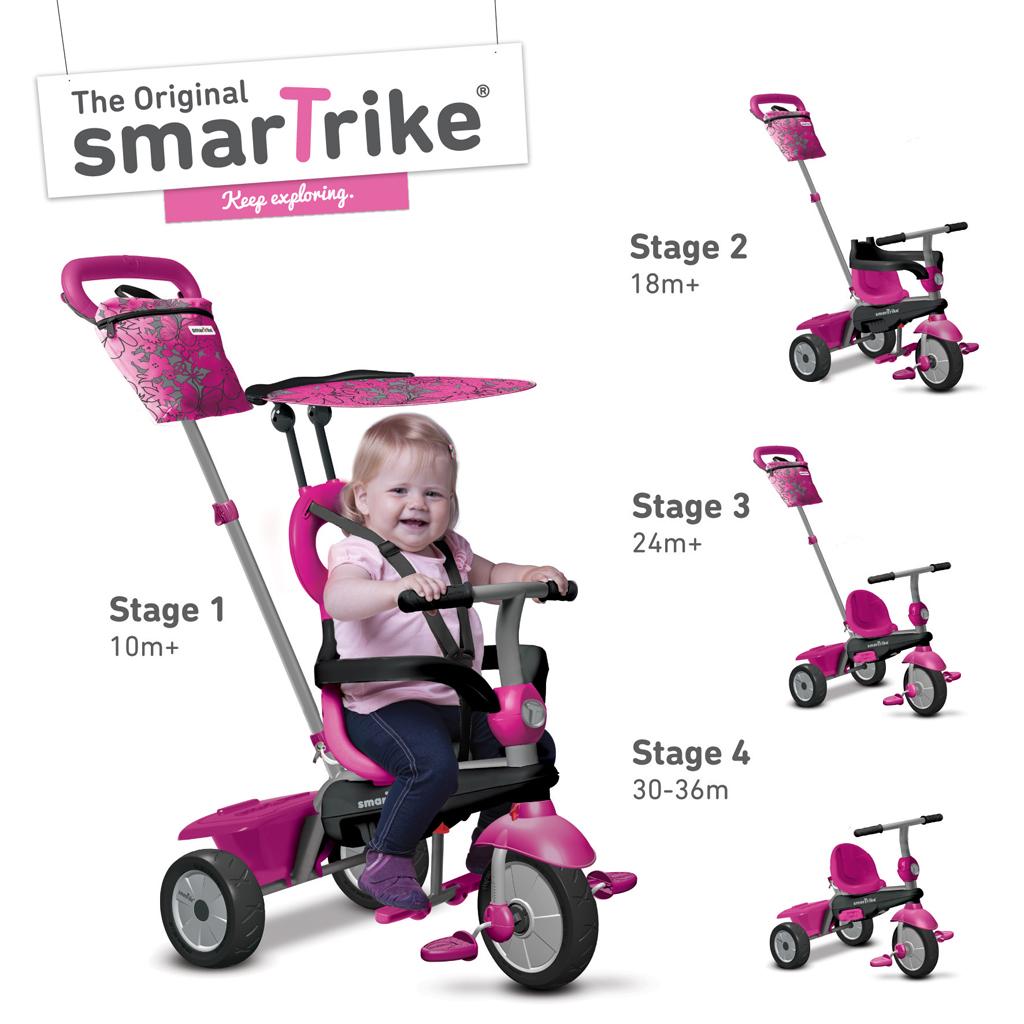 Afbeelding van Driewieler 4 In 1 Smart Trike Vanilla Roze