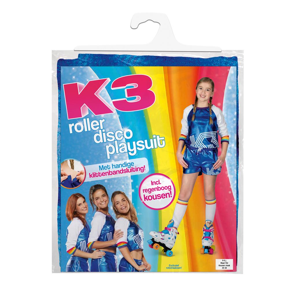 Afbeelding van K3 Outfit Roller Disco Met Regenboog Sokken 9-12 Jaar