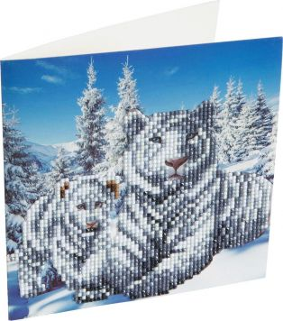 Crystal Art Kaart Witte Tijgers 18 X 18 Cm