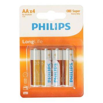 Batterij AA 4 Stuks Philips Longlife