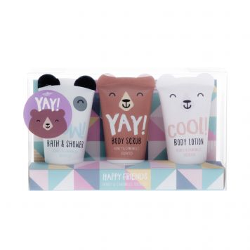Bad Giftset Showergel Bodylotion Srcub  Happy Friends