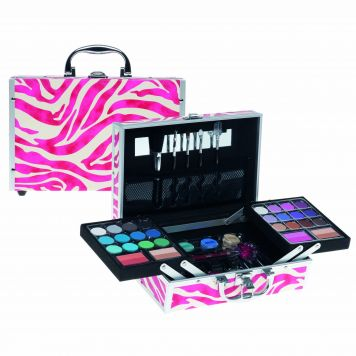 Casuelle make-Up Koffer Zebraprint Roze En Wit