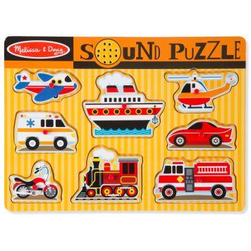 Puzzel Hout Met Geluid - Voertuigen