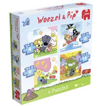 Puzzel Woezel & Pip 4-in-1