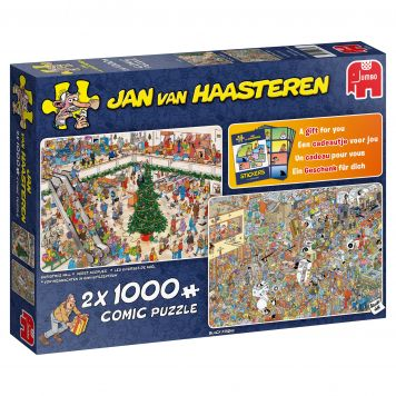 Puzzel Jan Van Haasteren Holiday Shopping  2 In 1 2x1000 Stukjes