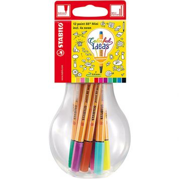 Stabilo Point 88 Fineliner Mini 12 Kleuren Lamp  Colorfol Ideas