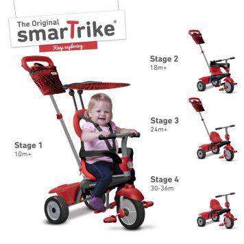 Driewieler 4 In 1 Smart Trike Vanilla Rood