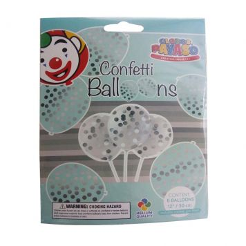 Ballon Transparant Met Confetti Zilver