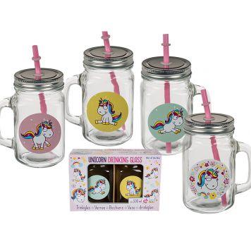 Unicorn Drinkglas 2 Assorti