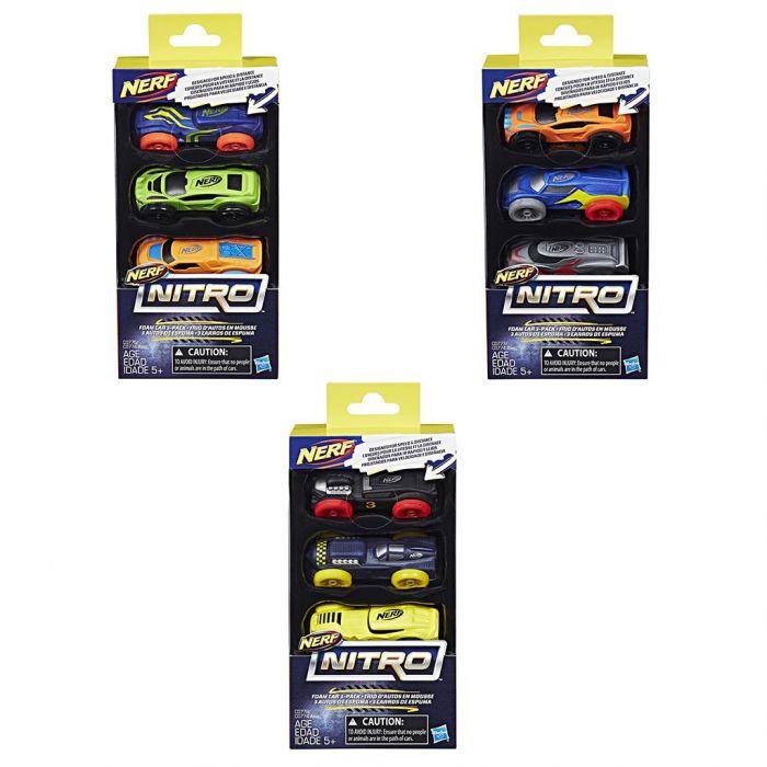 Nerf Nitro Foam Car 3 Pack Assorti