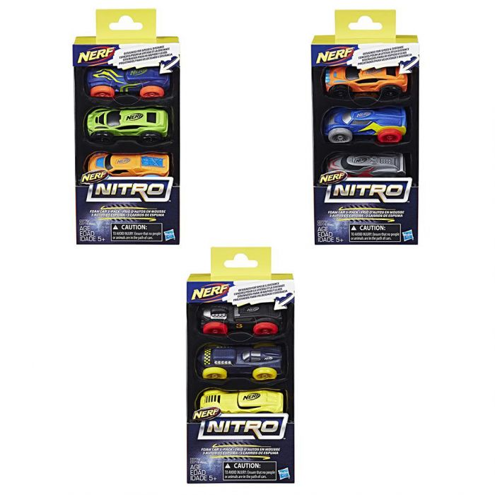 Nerf Nitro Foam Car 3 Pack Assorti